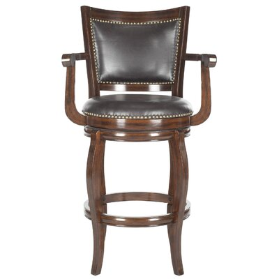 Ghia 30.9 Swivel Bar Stool Upholstery: Brown, Finish: Espresso