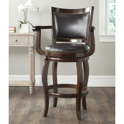 Ghia 30.9 Swivel Bar Stool Finish: Espresso, Upholstery: Brown