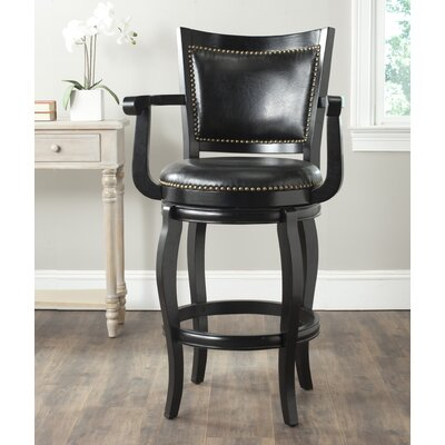 Ghia 30.9 Swivel Bar Stool Finish: Black, Upholstery: Black