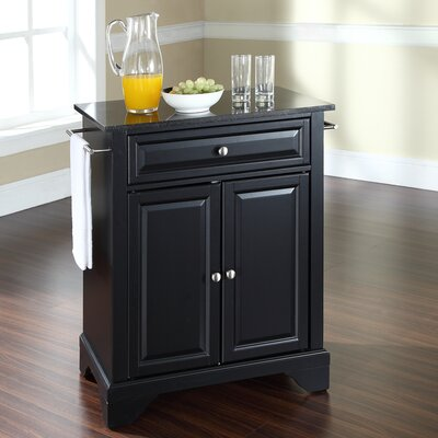 Abbate Kitchen Cart with Granite Top Base Finish: Black