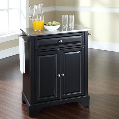Abbate Kitchen Cart with Stainless Steel Top Base Finish: Black