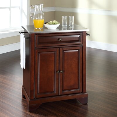 Abbate Kitchen Cart with Stainless Steel Top Base Finish: Vintage Mahogany
