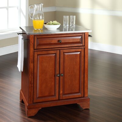 Abbate Kitchen Cart with Stainless Steel Top Base Finish: Classic Cherry