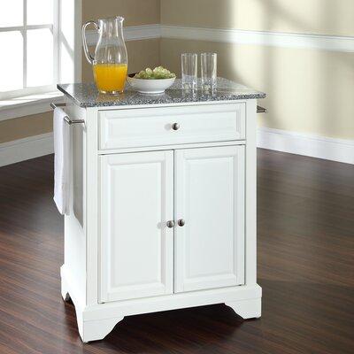 Abbate Kitchen Cart with Granite Top Base Finish: White