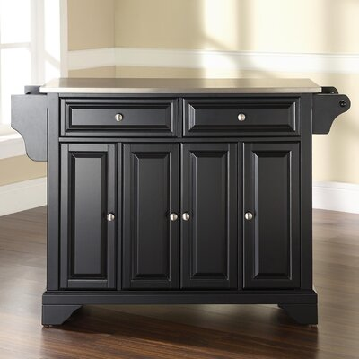 Abbate Kitchen Island with Stainless Steel Top Base Finish: Black