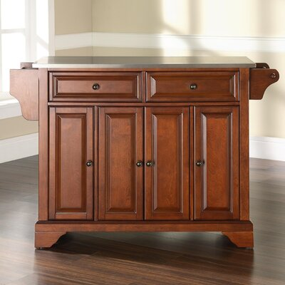 Abbate Kitchen Island with Stainless Steel Top Base Finish: Classic Cherry