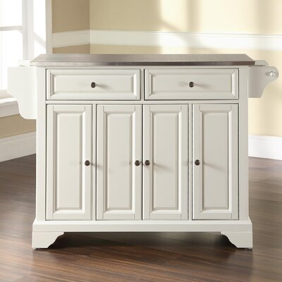 Abbate Kitchen Island with Stainless Steel Top Base Finish: White