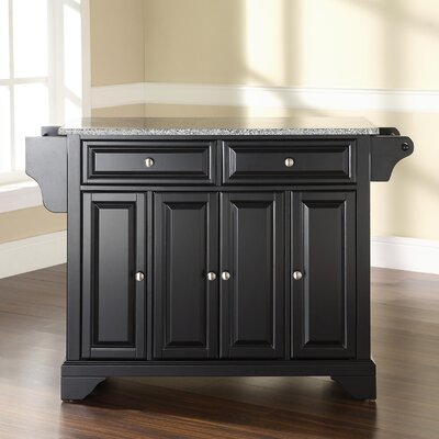 Abbate Kitchen Island with Granite Top Base Finish: Black