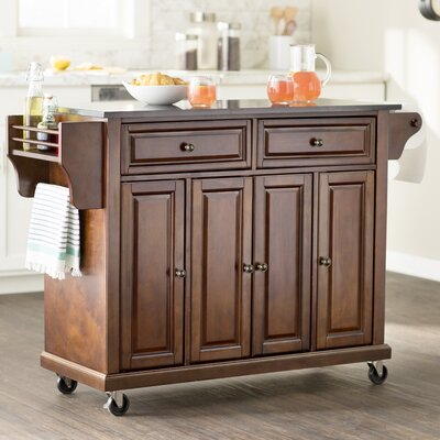 Abbate Kitchen Island with Solid Black Granite Top Base Finish: Classic Cherry