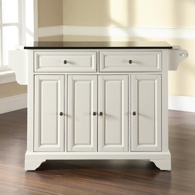 Abbate Kitchen Island with Solid Black Granite Top Base Finish: White