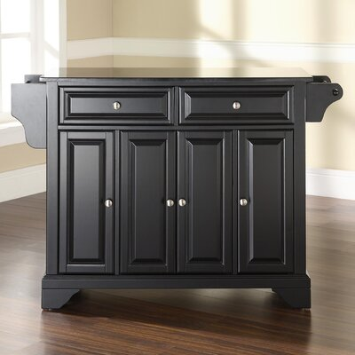 Abbate Kitchen Island with Solid Black Granite Top Base Finish: Black