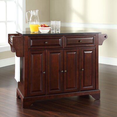 Abbate Kitchen Island with Solid Black Granite Top Base Finish: Vintage Mahogany