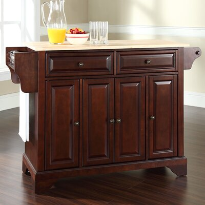 Abbate Kitchen Island with Wood Top and Stools in Black