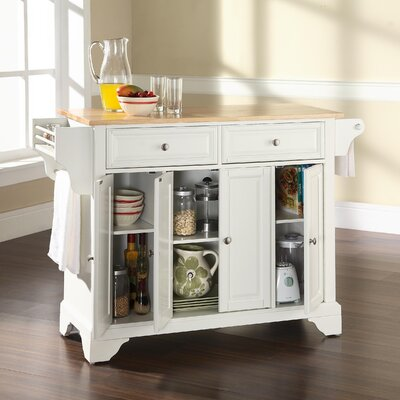 Abbate Kitchen Island with Wood Top Base Finish: White