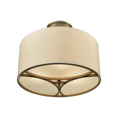 Shawna 3-Light Semi Flush Mount Finish: Brushed Antique Brass/Tan