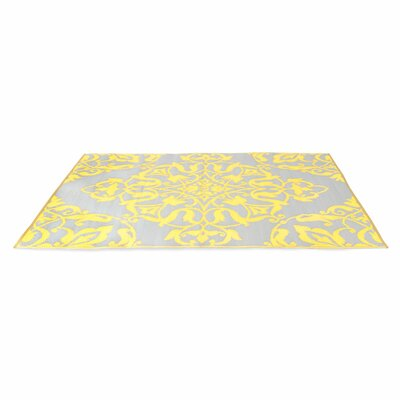 Tammie Reversible Indoor/Outdoor Doormat Rug Size: 6 x 9, Color: Soft Gold/Cool Silver