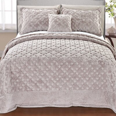 Cara 4 Piece Quilted Faux Fur Coverlet Set Size: King, Color: Taupe
