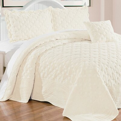 Cara 4 Piece Quilted Faux Fur Coverlet Set Size: King, Color: Antique White
