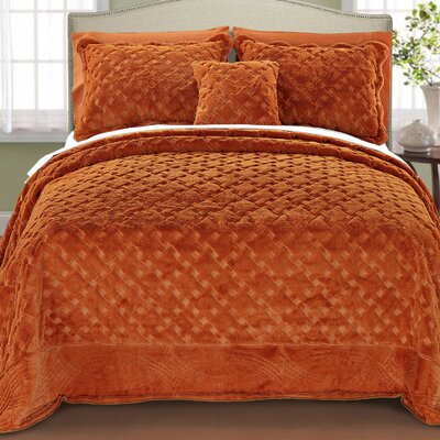 Cara 4 Piece Quilted Faux Fur Coverlet Set Size: King, Color: Burnt Orange