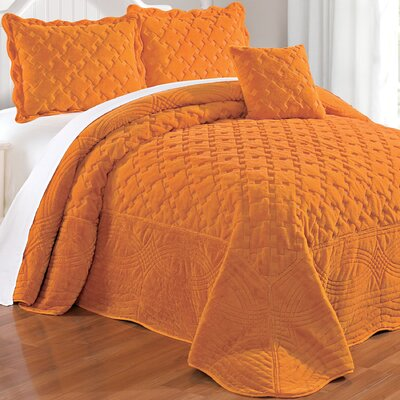 Cara 4 Piece Quilted Faux Fur Coverlet Set Size: King, Color: Apricot