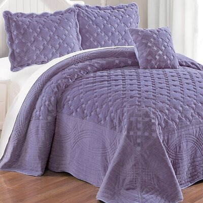 Cara 4 Piece Quilted Faux Fur Coverlet Set Size: Queen, Color: Day Break