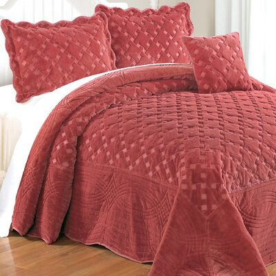 Cara 4 Piece Quilted Faux Fur Coverlet Set Size: King, Color: Dusty Cedar