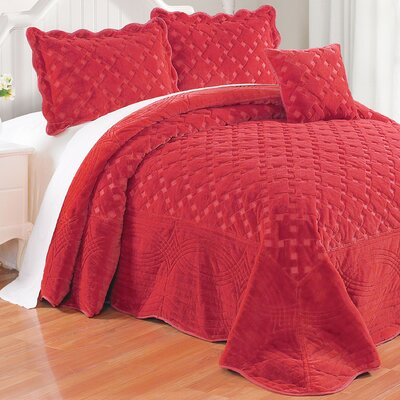 Cara 4 Piece Quilted Faux Fur Coverlet Set Size: Queen, Color: Tango Red