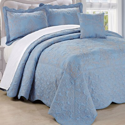 Lucinda Quilt Set Size: King, Color: Forget Me Not