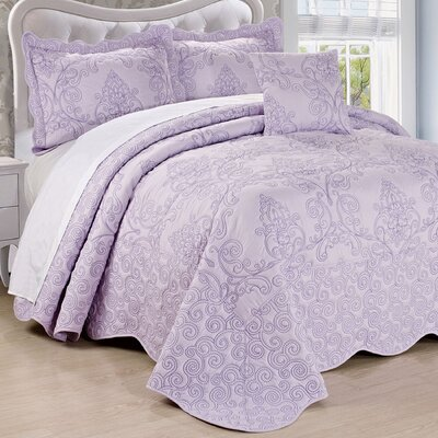 Lucinda Embroidered 4 Piece Quilt Set Size: Queen, Color: Lavender Fog