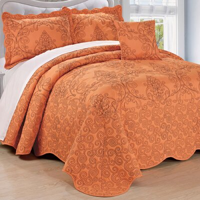 Lucinda Quilt Set Size: King, Color: Nectarine