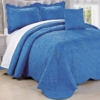 Lucinda Quilt Set Size: King, Color: Palace Blue