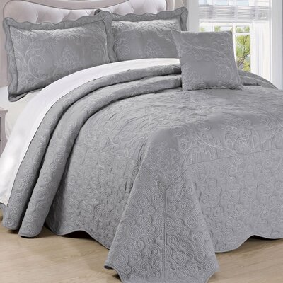 Lucinda Quilt Set Size: Queen, Color: Ash Gray
