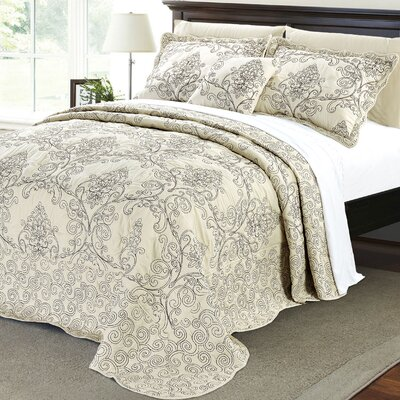 Lucinda Quilt Set Size: King, Color: Beige