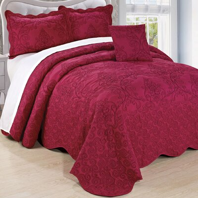 Lucinda Embroidered 4 Piece Quilt Set Size: King, Color: Sangria