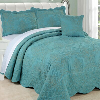 Lucinda Quilt Set Size: Queen, Color: Teal