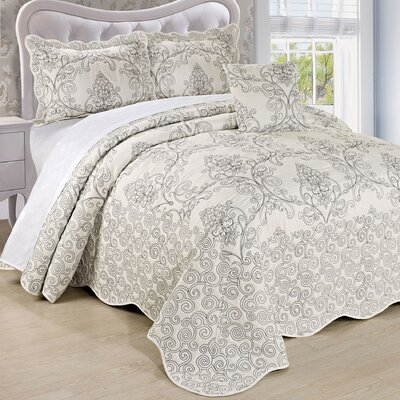 Lucinda Quilt Set Size: Queen, Color: White