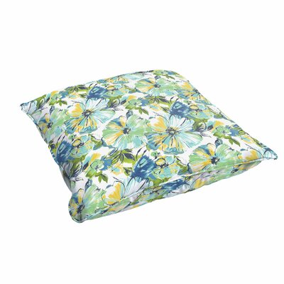 Shoffner Floral Square Piped Indoor/Outdoor Floor Pillow