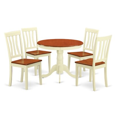 Caledonia 5 Piece Dining Set Chair Upholstery: Non-Upholstered Wood, Finish: Buttermilk Cherry