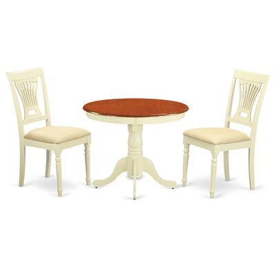Caledonia 3 Piece Dining Set Chair Upholstery: Padded Seat
