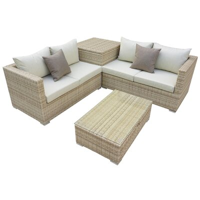 Brinkley 4 Piece Seating Group With Cushion Fabric: Beige