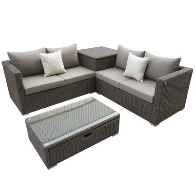 Brinkley 4 Piece Seating Group With Cushion Fabric: Brown
