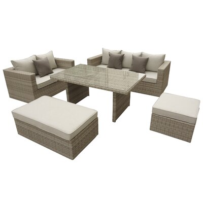 Brinkley 5 Piece Seating Group With Cushion Fabric: Beige