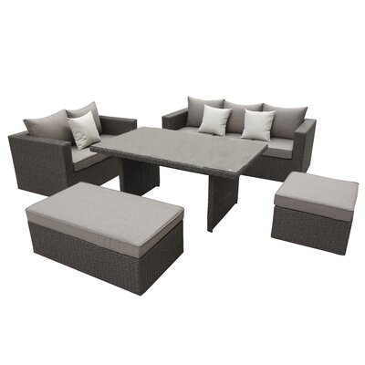 Brinkley 5 Piece Seating Group With Cushion Fabric: Brown