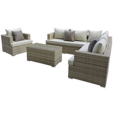 Josi 5 Piece Seating Group With Cushion Fabric: Beige