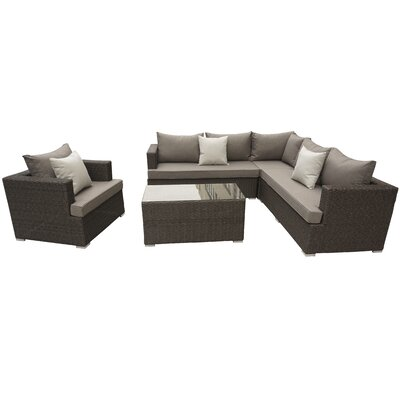 Josi 5 Piece Seating Group With Cushion Fabric: Brown