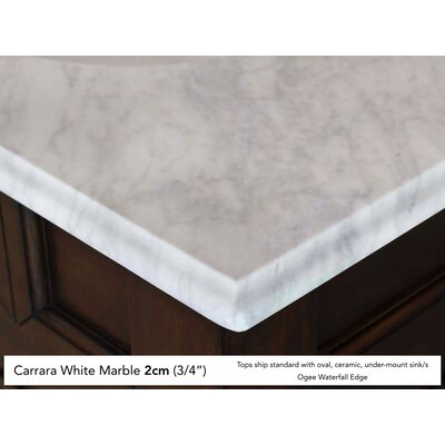 Bedrock 72 Double Warm Cherry Bathroom Vanity Set with Drawers Top Finish: Carrera White Marble Top