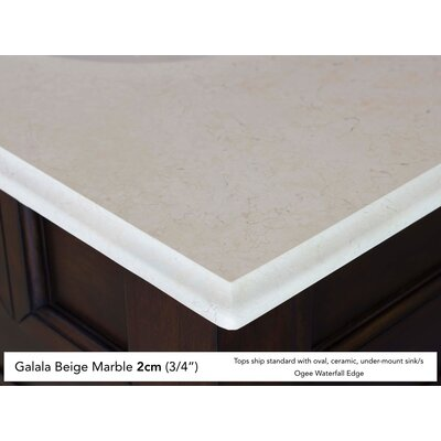 Bedrock 60 Double Warm Cherry Bathroom Vanity Set with Drawers Top Finish: Galala Beige Marble Top