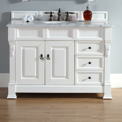 Bedrock 48 Single Cottage White Bathroom Vanity Set with Drawers Top Finish: Santa Cecilia Granite Top