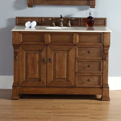 Bedrock 48 Single Country Oak Bathroom Vanity Set with Drawers Top Finish: Santa Cecilia Granite Top