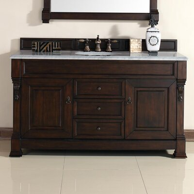 Bedrock 60 Single Burnished Mahogany Bathroom Vanity Set with Drawers Top Finish: Carrera White Marble Top